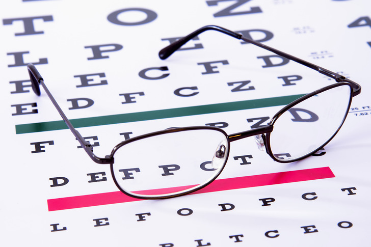 Eye sight test, eye examination, eye chart, glasses, designer frames
